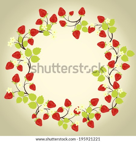 Strawberry frame with leaves on the beige background - stock vector