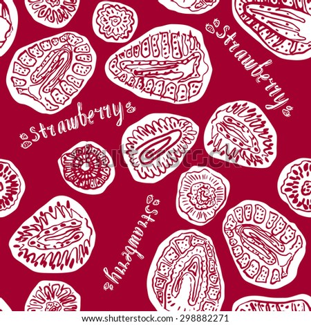 Strawberry hand drawn vintage seamless pattern. Doodle vector illustration