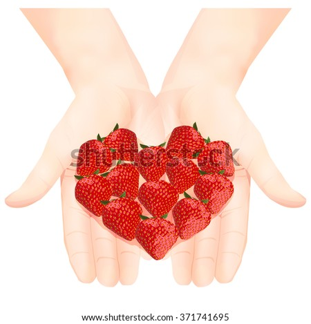 Strawberry heart in hands. Vector illustration. Card for Valentine's Day. Isolated on white