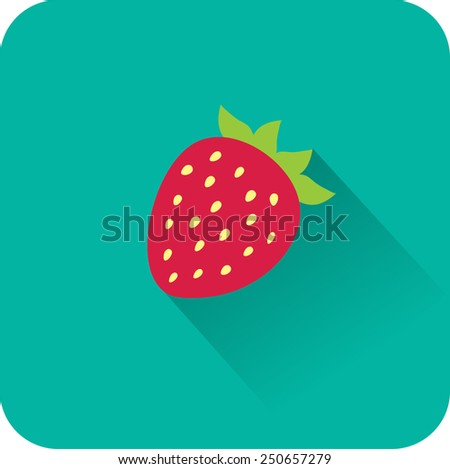 Strawberry icon. Flat design style modern vector illustration - stock vector