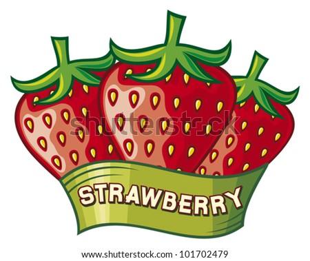 strawberry label design (strawberry symbol) - stock vector