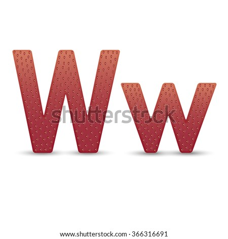 strawberry letter W on white background