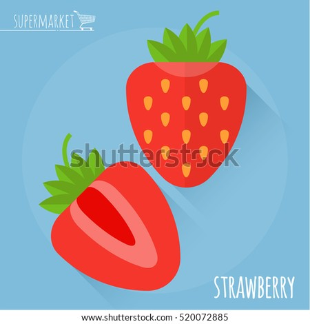 Strawberry. Long shadow flat design vector icon.