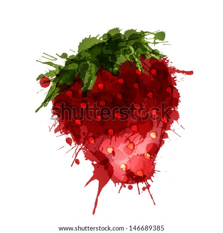 Strawberry made of colorful splashes on white background  - stock vector
