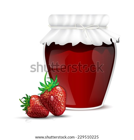 Strawberry marmalade in a jar and dewy fresh strawberries - isolated on white background. Vector illustration. - stock vector