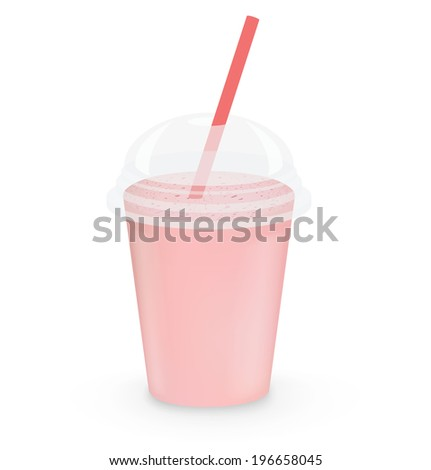 Strawberry milkshake on white background