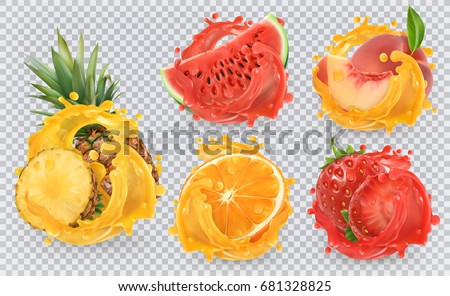 Strawberry, pineapple, orange, watermelon, peach juice. Fresh fruits and splashes, 3d vector icon set