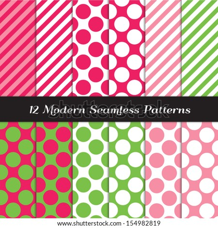 Strawberry Pinks, Green and White Jumbo Polka Dots and Stripes Seamless Patterns. Perfect for Christmas or Strawberry theme girl's birthday party decor. Pattern Swatches made with Global Colors. - stock vector
