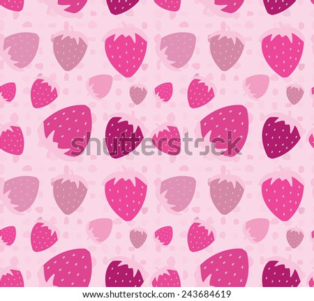 Strawberry seamless pattern background - stock vector