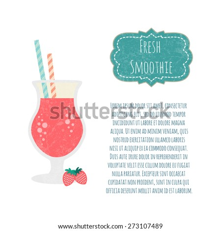 Strawberry smoothie. Healthy life concept. Fresh juice made in flat style. Organic raw shake. Vector illustration. - stock vector