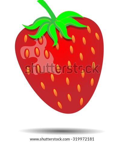 Strawberry. Sweet isolated red juicy fresh, vector illustration - stock vector