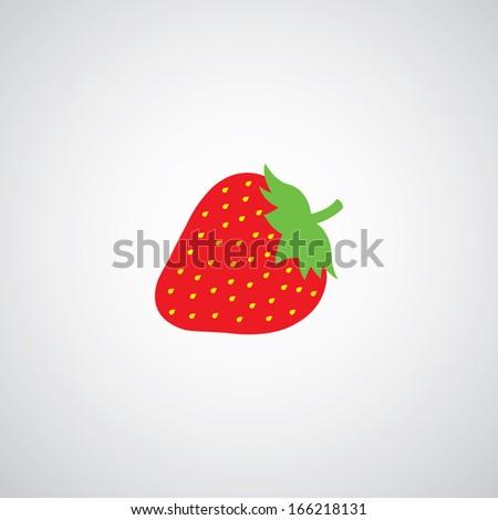 strawberry vector cartoon on gray background - stock vector