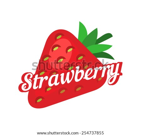 Strawberry vector illustration in flat style isolated on white background. Concept art with style caption. - stock vector