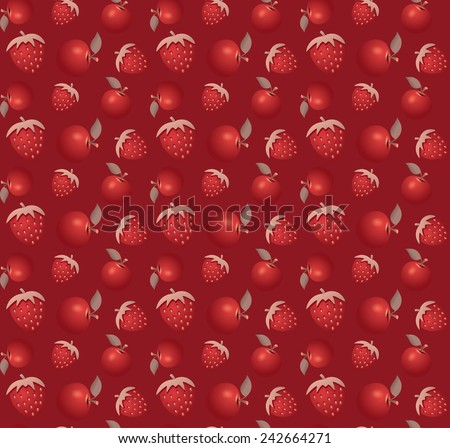 Strawberry vector seamless pattern including some apples - stock vector