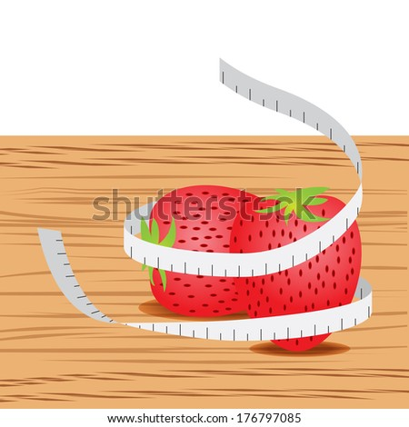 Strawberry with measure tape and table wood - stock vector