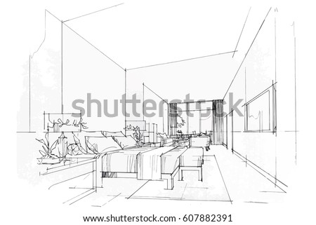 Streaks Bedroom Black And White Interior Design Vector Sketch