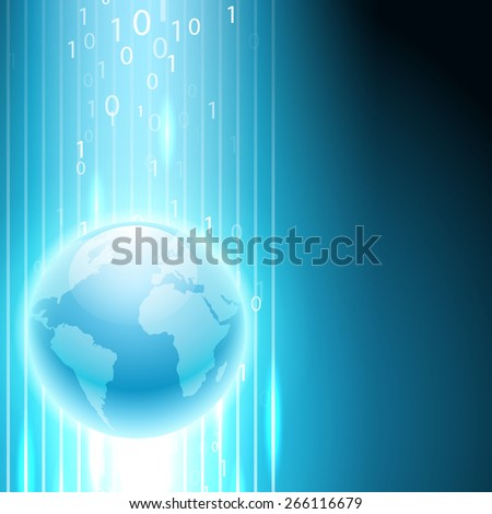 Stream of binary code to the globe. EPS10 vector background. - stock vector