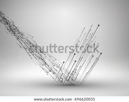 Stream of connected lines and dots bouncing off the floor. Connection concept. Technology background. Vector illustration.