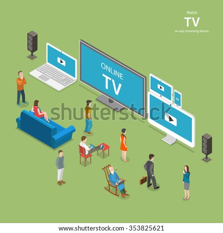 Streaming TV isometric flat vector illustration. People watch online TV on different internet-enabled devices like PC, laptop, TV set tablet, smartphone. - stock vector