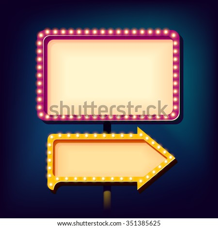 Street advertising billboard retro. Realistic 3d sign with neon lights. Blank light background for your text, publicity, promotion. The frame and arrow box. Vector illustration - stock vector