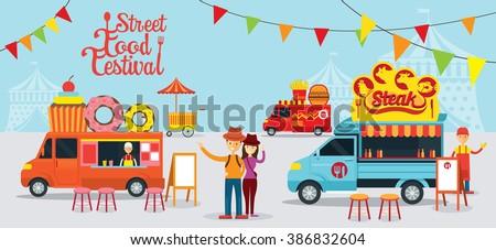 Street And Fast Food Truck Festival Drink Dessert Steak Burger