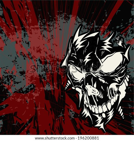 Street art skull vector background - futuristic, scary, dangerous skull motive. Isolated layers, skull vector separated - stock vector