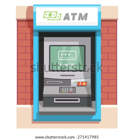 Street ATM teller machine with current operation icon on the screen. Enter PIN code pictogram. Flat style vector illustration. - stock vector