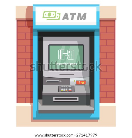 Street ATM teller machine with current operation icon on the screen. Transfer funds depicted as two exchanging credit cards pictogram. Flat style vector illustration. - stock vector