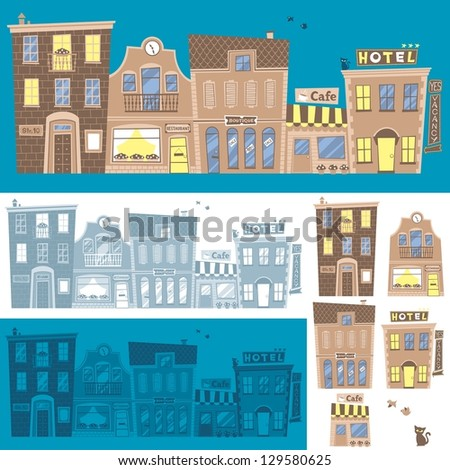 Street background in 3 color versions. You can also use each building separately. - stock vector