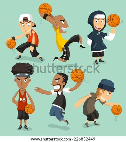 Street basketball players illustration cartoons - stock vector