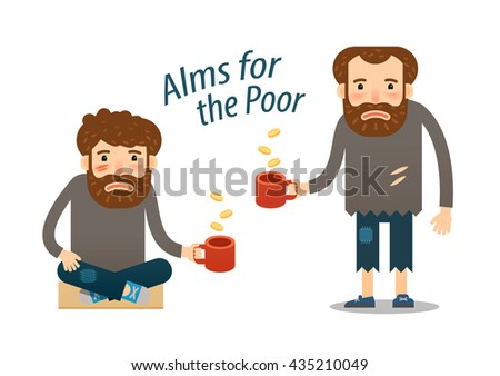 street beggar, homeless. hungry man asks for money with a mug in hand. charitable donation - stock vector