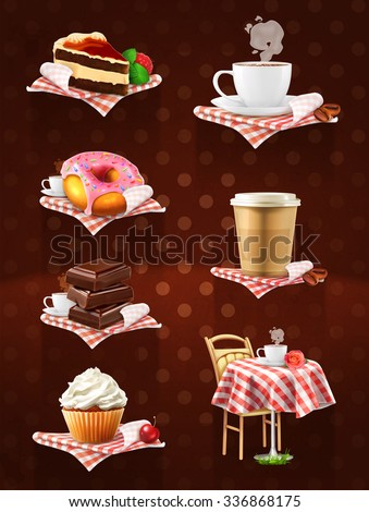 Street cafe, chocolate, cupcake, cake, cup of coffee, donut, vector icon set on dark background - stock vector
