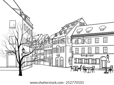 Street cafe in old city. Cityscape - houses, buildings and tree on alleyway. - stock vector