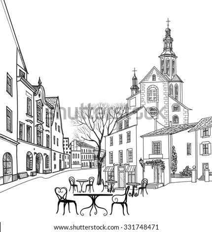 Street cafe in old city. Cityscape - houses, buildings and tree on alleyway. Old city view. Medieval european castle landscape. Pencil drawn vector sketch - stock vector