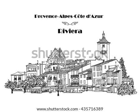 Street cafe in old city. Cityscape - houses, buildings and tree on alleyway. Old city view. European French Riviera landscape. Pencil drawn editable vector sketch