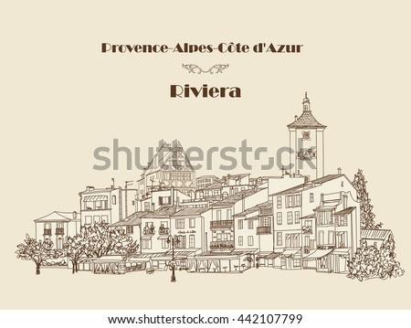 Street cafe in old city. Cityscape - houses, buildings and tree on alleyway. Old city view. European French Riviera Cote d'Azur landscape. Pencil drawn editable vector sketch