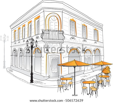Street Cafe Old City Hand Draw Stock Vector 506572639 ...