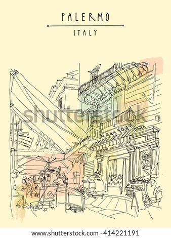 Street cafe in Palermo, Sicily, Italy. Artistic illustration of a cozy nice place with people. Retro style freehand drawing. Book illustration. Vertical travel postcard or poster template in vector - stock vector