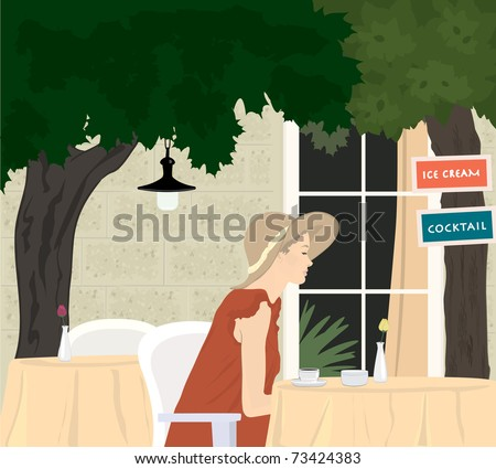 Street cafe scene - attractive girl in elegant red dress - stock vector