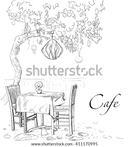Street cafe view with tree, coffee table and two chairs, graphic vector illustration, sketch on white background - stock vector