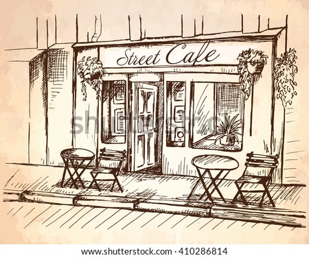 Street Cafe Without People Old Town Stock Vector 410286814 ...