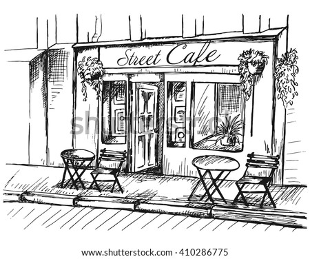 Street cafe without people in old town, graphic vector illustration, sketch on white background - stock vector