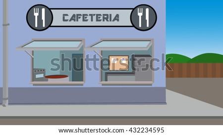 Street cafeteria shop vector illustration - stock vector
