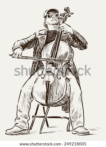 street cellist - stock vector