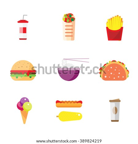Street city food flat design. Fast food isolated icon set, burger snack corn vector illustration. Chinese rice noodles, Indian tacos, Mexican burritos. The icons for the menu, site, banner, booklet - stock vector