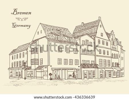 Street corner with buildings and cafe. Cityscape - houses, buildings on alleyway. Old German city Bremen view. Medieval european  landscape. Urban landscape illustration. Pencil drawn vector sketch