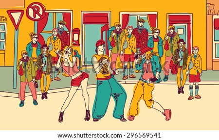 Street dance people group city color. Young people dancing behind audience on the street. Color vector illustration. - stock vector