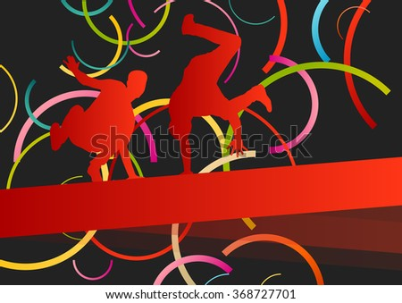 Street dancers young active and healthy people sport silhouettes vector background illustration - stock vector