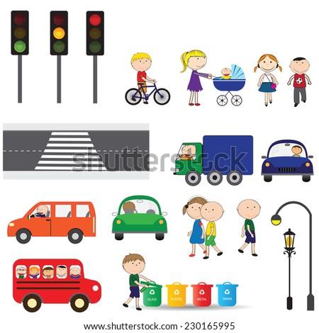 Street elements - road, zebra, traffic lights, buildings, cars - stock vector