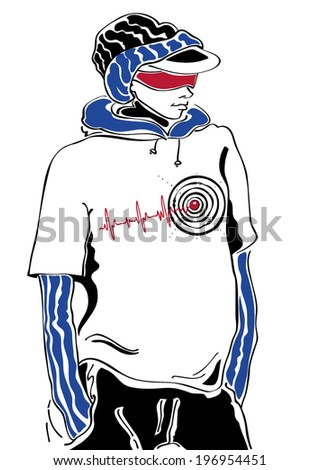 Street fashion sketch with a cool boy - stock vector